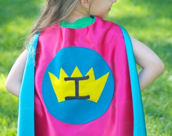 PERSONALIZED Girl SUPER HERO Cape - Girl Princess Cape-double sided-you choose the sparkle initial-girl birthday cape