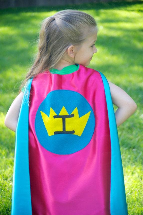 personalized girl super hero cape girl princess cape double