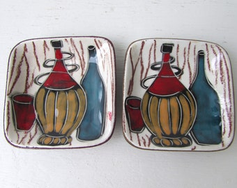 Mid Century Modern Italian Pottery Trays or Dishes - Pair of Small Trinket Trays Wine Bottle Design Italian Pottery - Leather Backed Ceramic