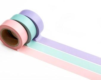 Pastel Colored Washi Tape - Masking Tape for Crafts, Scrapbooking, Travelers Notebook, Journaling - Soft Pink, Aqua, Lavender