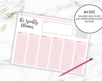Weekly Desk Planner Printable Blush Pink A4