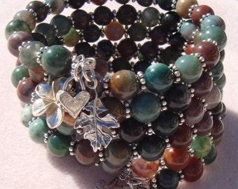 Multi strand Bracelet, Gemstone Bracelet, Memory Wire Bracelet, Wrap Bracelet, Coiled Bracelet, Jasper Sterling Silver Plumeria Bracelet