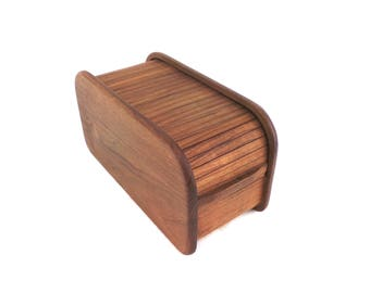Teak Tambour Box, Danish Storage Box