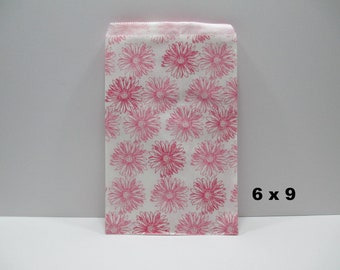 Flower Paper Bags, 100 Pink Daisy 6x9 Paper Gift Bags, Merchandise Bags, Favor Bags