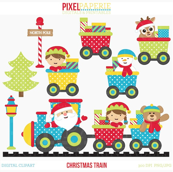 christmas clipart train clip art santa christmas train rh etsy com Christmas Toy Train Christmas Train Set