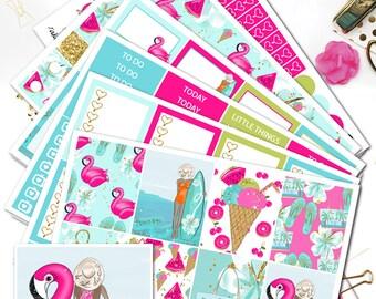 COOL SUMMER Planner Stickers/Planner Stickers for Erin Condren Lifeplanner/Summer weekly sticker kit/Pink Flamingo Pool Float