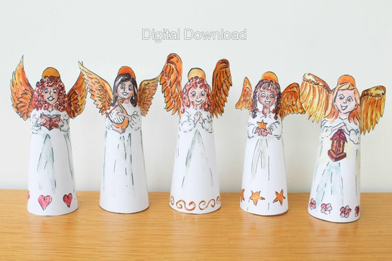 Digital download angel decorations diy christmas angels digital download angel decorations diy christmas angels print at home holiday decor paper angel christmas tree topper make it yourself solutioingenieria Choice Image
