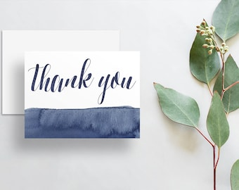 Watercolor Calligraphy Thank You Cards / Dark Blue Deep Navy Watercolor / Thank You Notes / Printed Folded Thank You Cards