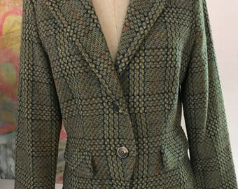 Vintage 70s Green Tweed Wool Woven Jacket Size Medium M Cropped Blazer