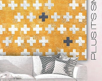 "Plus It's Simple modern quilt pattern - Brigitte Heitland for Zen Chic - 65"" x 65"""