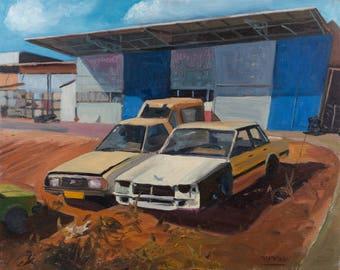 "Original Oil Painting, Retro Car Painting, Car Painting, Landscape Painting, Nostalgic Painting, Oil on Canvas 40X50 CM (15.7""X19.7"")"