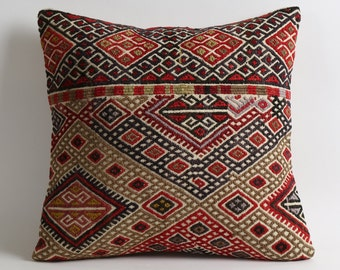 turkish kilim pillow, 15x15 kilim pillow, turkish pillow, vintage pillow, decorative pillow, bohemian pillow, kilim, kilim cushion cover