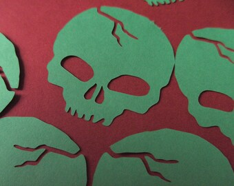 Skull vinyl stickers, Green skull vinyl embellishments, car sticker, laptop sticker, skull sticker, indoor or outdoor