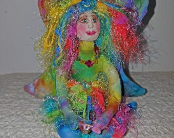 OOAK, rainbow colored fiber sculpted angel figurine, Swarovski crystal accents