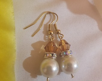 Pearl White Earrings, Bridal/Bridesmaid