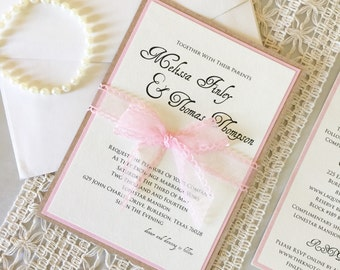 5x7 Craft/Cork Paper and Pink Layered Wedding Invitation Announcement with Detail Insert