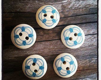 set of 5 buttons wooden buoy sailor sea two hole 15mm