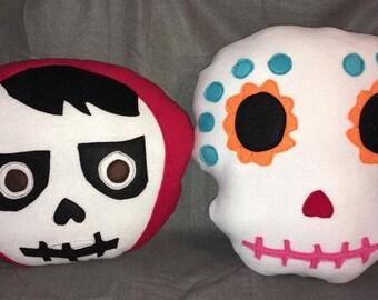 Coco Insipired Miguel and Sugar skull Pillows Plush SugarSkull
