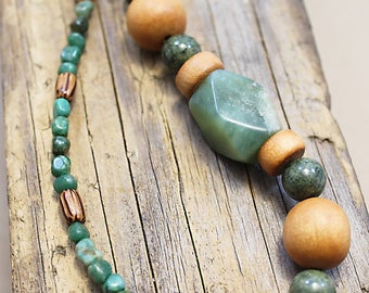 Green African Turquoise and Tan Wood Beaded Asymmetrical Necklace with Copper Toggle Clasp, Boho, Chunky, Natural