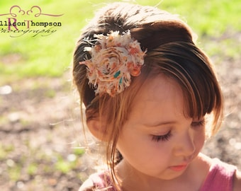 Thanksgiving Baby Headband Brown Coral Teal Floral Shabby Flower Fall Autumn - Gift or Photo Prop - Newborn Infant Toddler Girl Adult