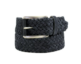 Free shipping! Suede belt, blue suede belt, navy belt, blue wicker belt, braided belt, mens belt, gift for him, gift idea, belt for jeans