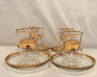 Pasabahce Tea Cups / Glasses and Saucers - 4 Cups and 4 Saucers - Made in Turkey