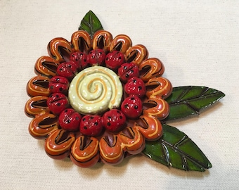 Red and Orange 3D Flower with Leaves Ceramic Mosaic Tile