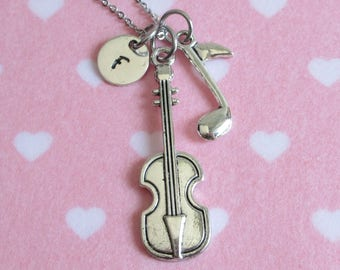 Violin Necklace, Musician Gift, Silver Music Note, Violinist Necklace, Initial Charm, Music Teacher, Personalized Jewelry