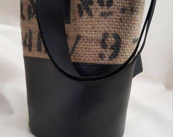 Burlap Coffee Bag Bucket Back Pack