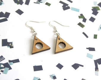Wooden earrings, triangle earing with cloud pattern, natural gift for her, wood jewelry, geometric design, unique present for nature lovers