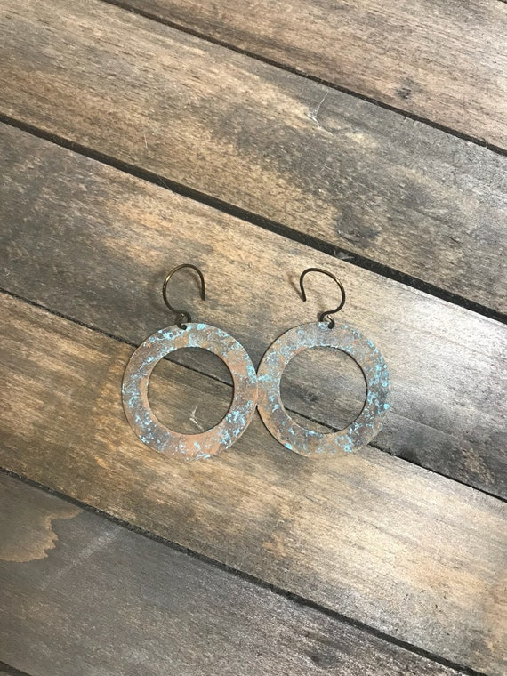 Antique brass rustic patina hoops