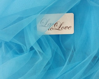 "Turquoise blue tulle fabric, lingerie tulle fabric, evening dress tulle, flower dress tulle, - 61"" (155 cm) wide - sold per meter T13149"