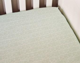 Fitted Crib Sheet Mint Triangle Stack- Mint Crib Sheet- Triangle Crib Sheet- Mint Baby Bedding- Crib Bedding- Organic Sheet- Minky Sheet