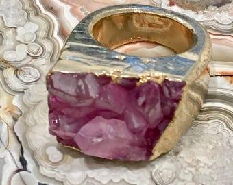 Dara Ettinger ABBY Druzy Ring in Pink/Gold sz 9