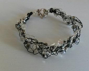 Green and Silver Wire Crochet Bracelet