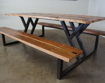 Custom Reclaimed Wood Rustic Modern Industrial  Indoor / Outdoor Picnic Dining Table