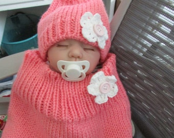 Pretty Peach Baby Sleep Sack Cocoon Bunting Knitted Handmade - Made For A Baby To Grow Into