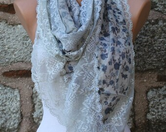 Mother's ,Floral Lace Scarf, Wedding Shawl Cowl, Bridal Accessories Bridesmaid gift,for her,Women's Fashion Accessories, Best selling item