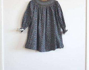 Vintage Navy Girl's Smocked Dress