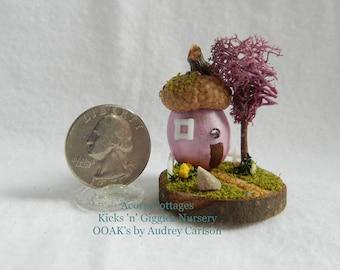 Handmade OOAK 1.5 inch Shell Acorn Fairy Cottage by Audrey at Kicks 'n' Giggles Nursery