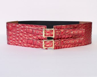 """Pink and Gold iridescent Faux Crocodile 3"""" Belt with Aluminum Buckles"""