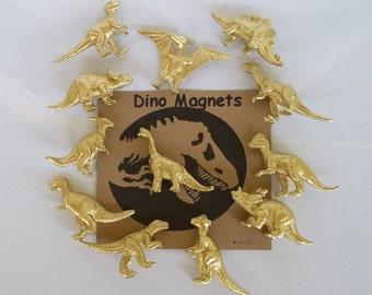 Gold Dinosaur Magnets FLASH SALE Set of 6 Whole Gold Dinosaurs, Gift Tin, Animal Magnet, Desk Accessory, Dinosaur Favor, Gold Dinosaur, Dino