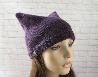 Pussy Hat, Pussy Cat Hat, Adult Cat Hat, Cat Ears Hat, Resist Hat, March Hat, Chunky Cat Hat, Cat Beanie, Chunky Knits, Chunky Knit Hat