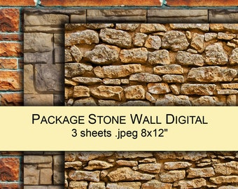 Stone wall photo digital paper PACK x3 for scrapbooking printable instant download