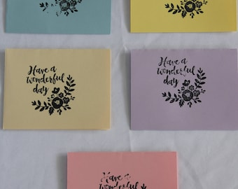 Handmade 'Have a Wonderful Day' Greeting Cards (set of 5 with envelopes)