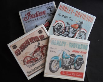 Motorcycle Coasters ~ Vintage Motorcycles ~ Tile Coasters ~ Home Decor ~ Drink Coasters ~ Table Coasters ~ Old Motorcycles ~ Motorbike