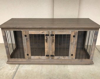Custom Double Dog Kennel Furniture Double Dog Crate Furniture