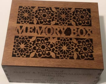 Wooden Lidded Memory Box Personalised or Engraved with: The Greatest Legacy We Can Leave Our Children is Happy Memories - Birth, Wedding etc