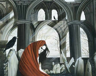 The Raven - Original Gothic Oil Painting on stretchered canvas by International artist Allen Richings