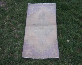 Turkish Rug 1x2 Purple Wool Pile Small Vintage Rug Hand Knotted Semi Antique Area Rug -ESME0102